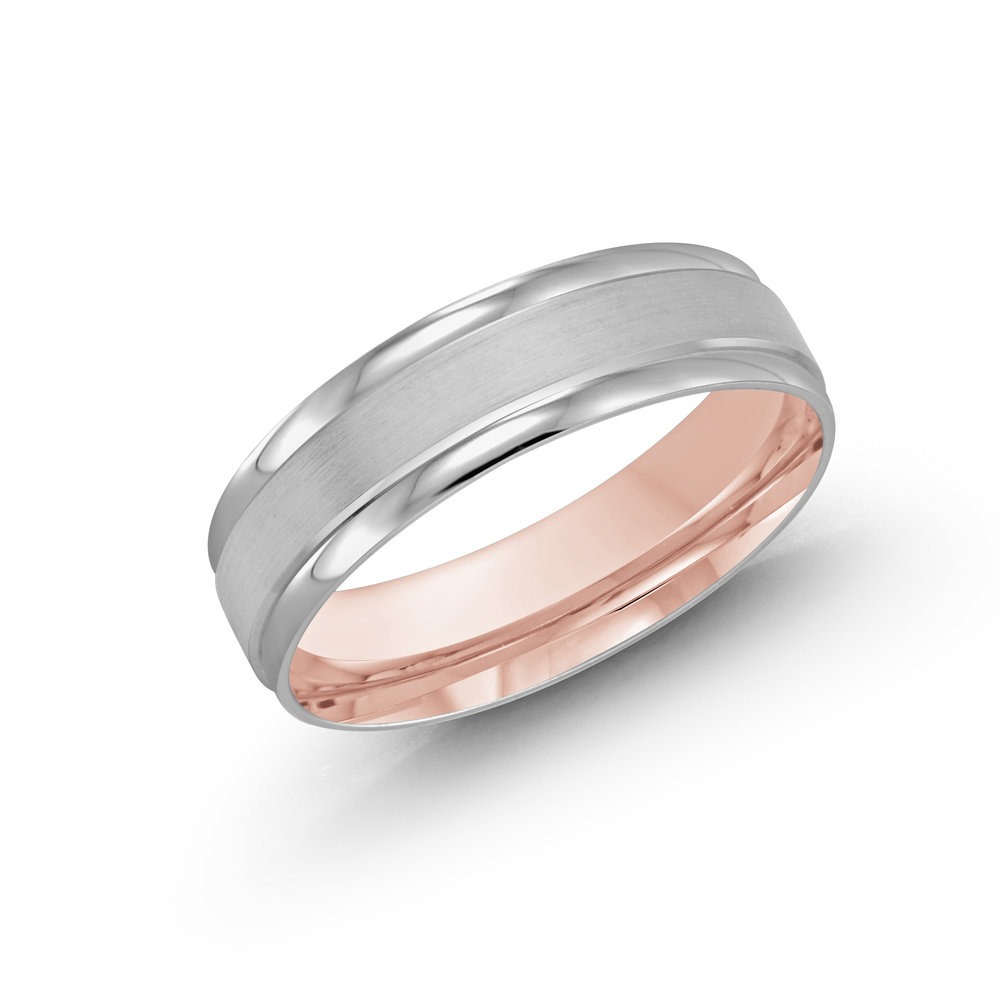 White/Pink Gold Men's Ring Size 6mm (LUX-031-6WZP)