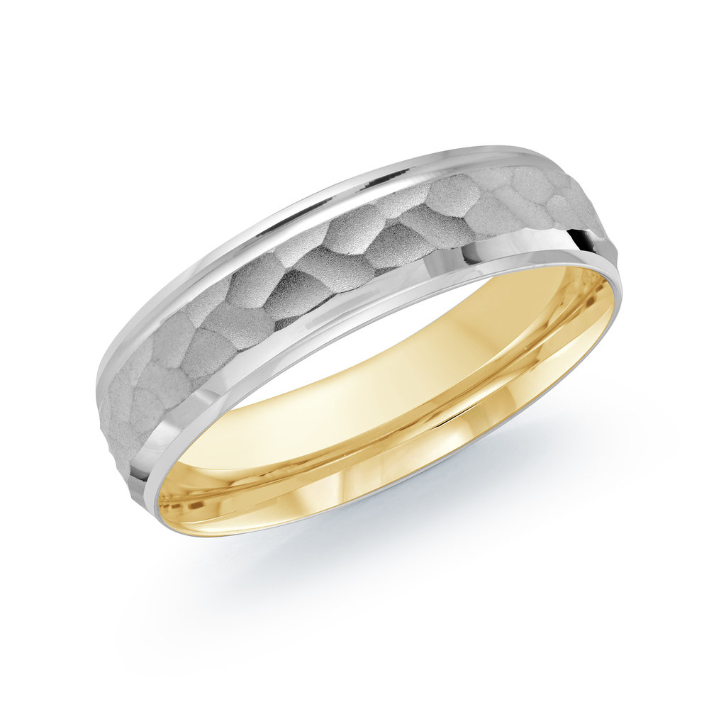 White/Yellow Gold Men's Ring Size 6mm (LUX-082-6WZY)