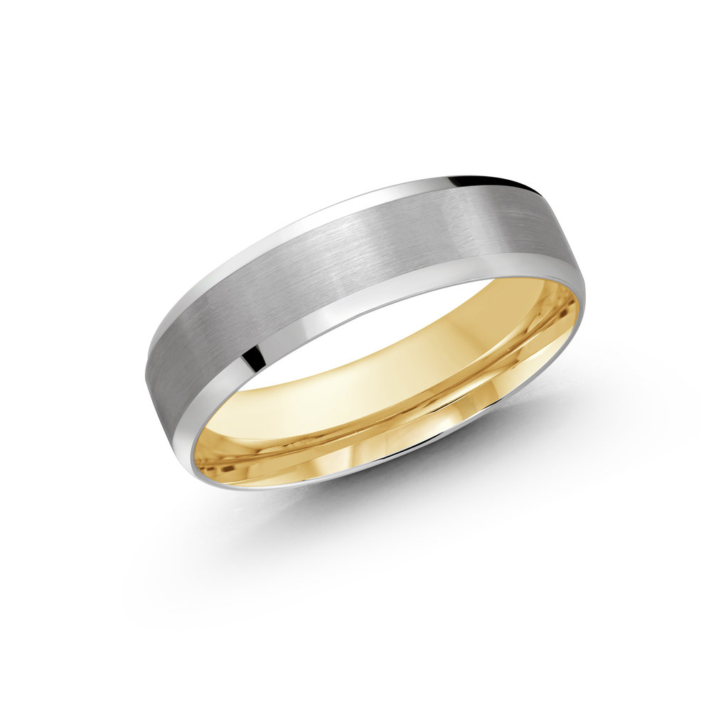 White/Yellow Gold Men's Ring Size 6mm (LUX-1105-6WZY)