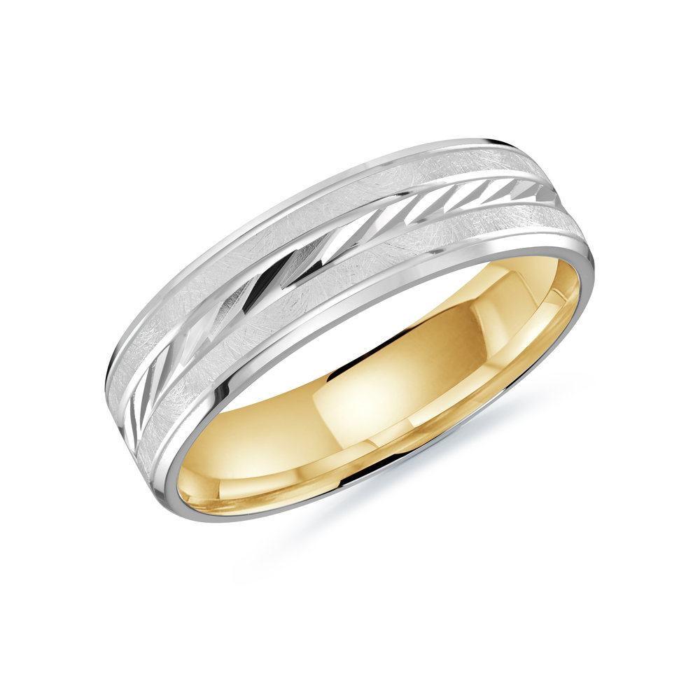 White/Yellow Gold Men's Ring Size 6mm (LUX-206-6WZY)