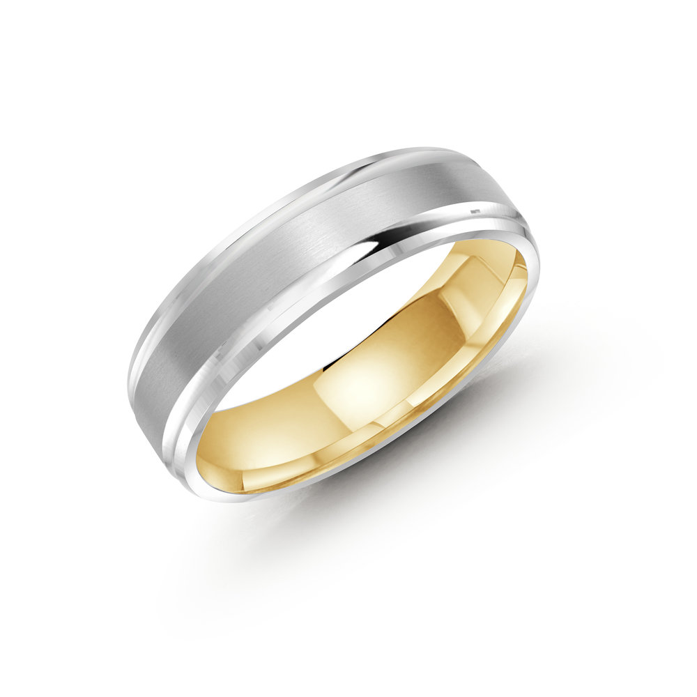 White/Yellow Gold Men's Ring Size 6mm (LUX-411-6WZY)