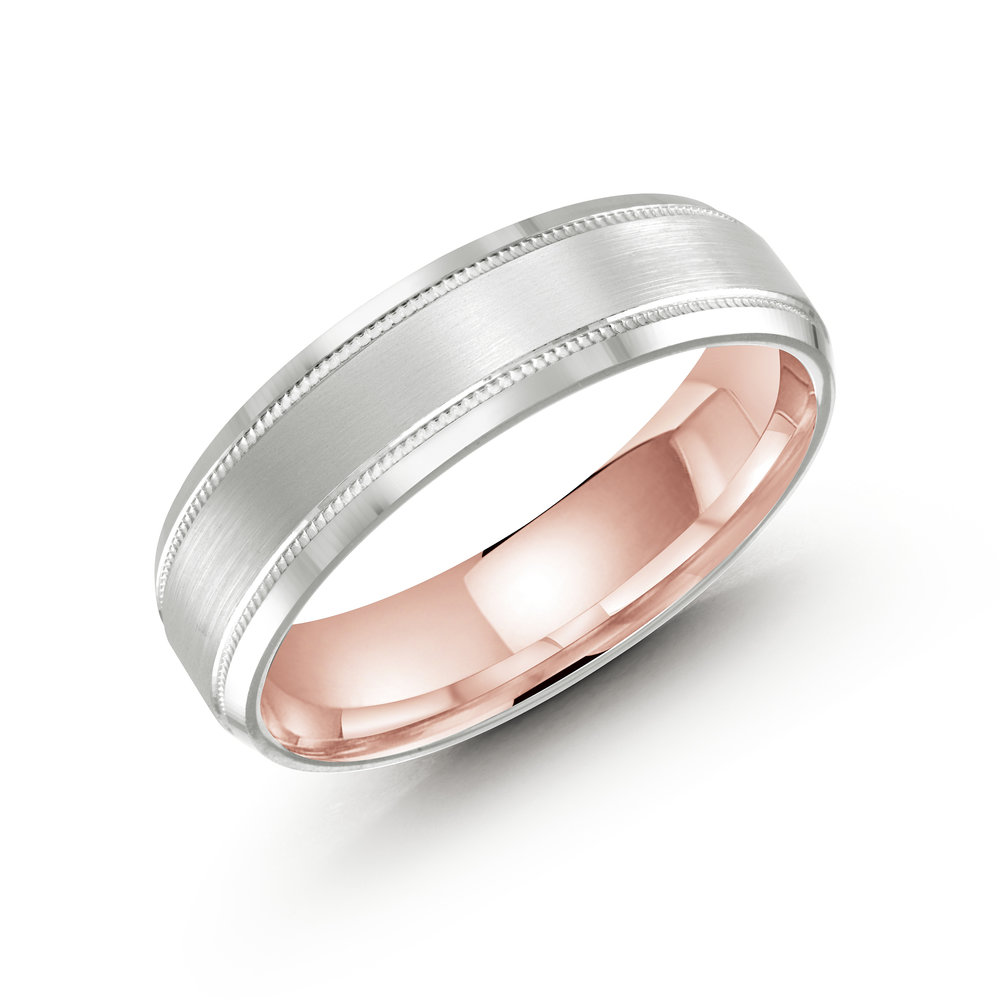 White/Pink Gold Men's Ring Size 6mm (LUX-413-6WZP)