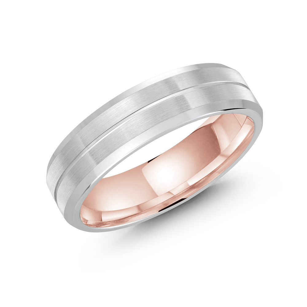 White/Pink Gold Men's Ring Size 6mm (LUX-697-6WZP)