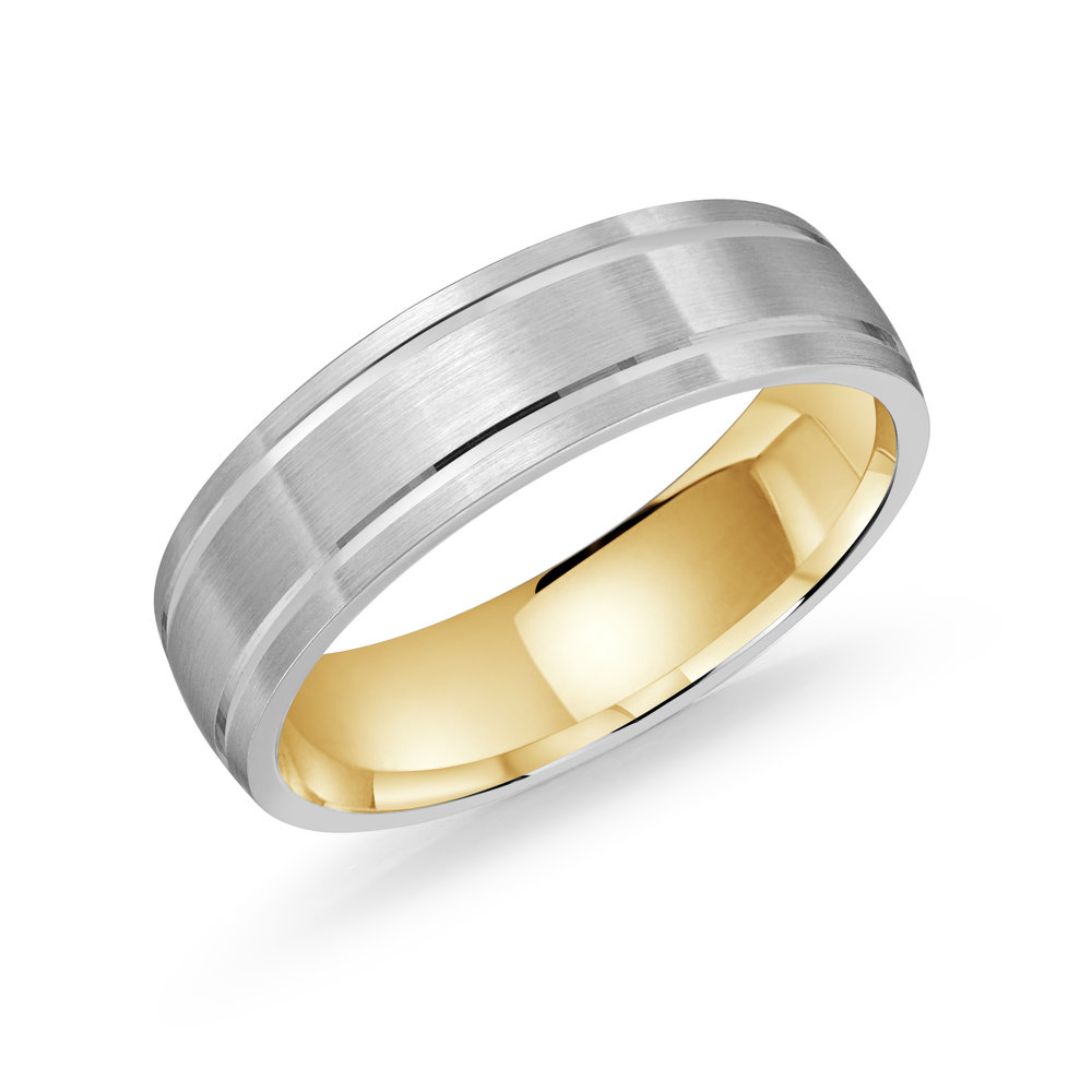 White/Yellow Gold Men's Ring Size 6mm (LUX-976-6WZY)