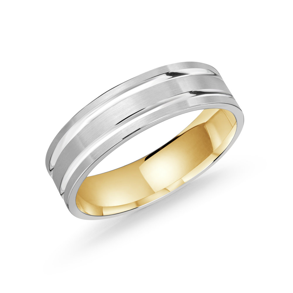 White/Yellow Gold Men's Ring Size 6mm (LUX-986-6WZY)