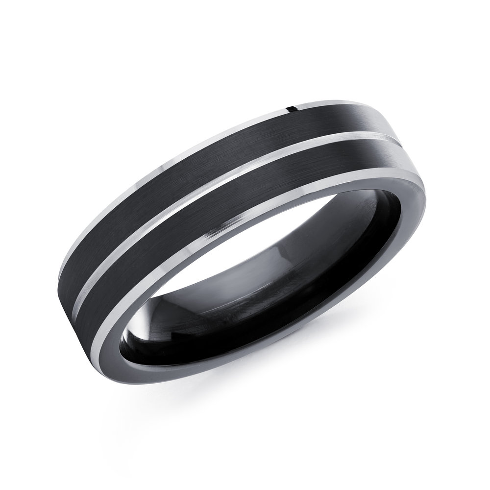 Black/White Gold Men's Ring Size 6mm (CB-504)