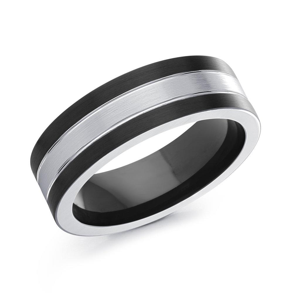 Black/White Gold Men's Ring Size 7mm (CB-508)