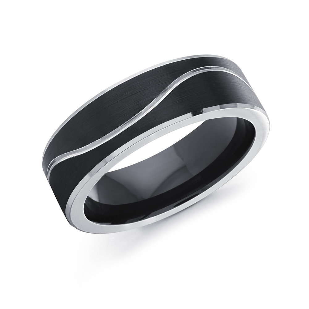 Black/White Gold Men's Ring Size 7mm (CB-510)