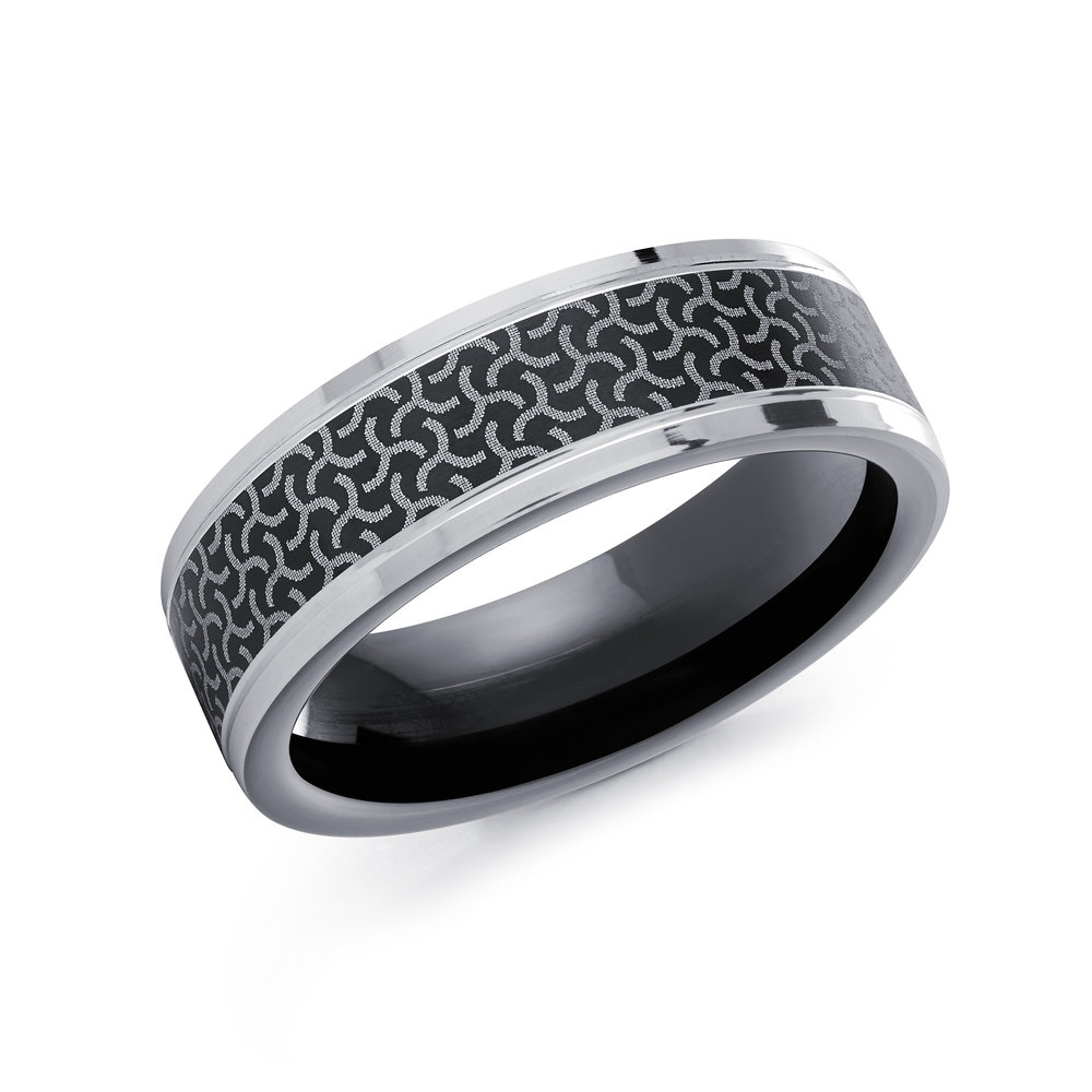 White/Black Gold Men's Ring Size 7mm (CB-513)