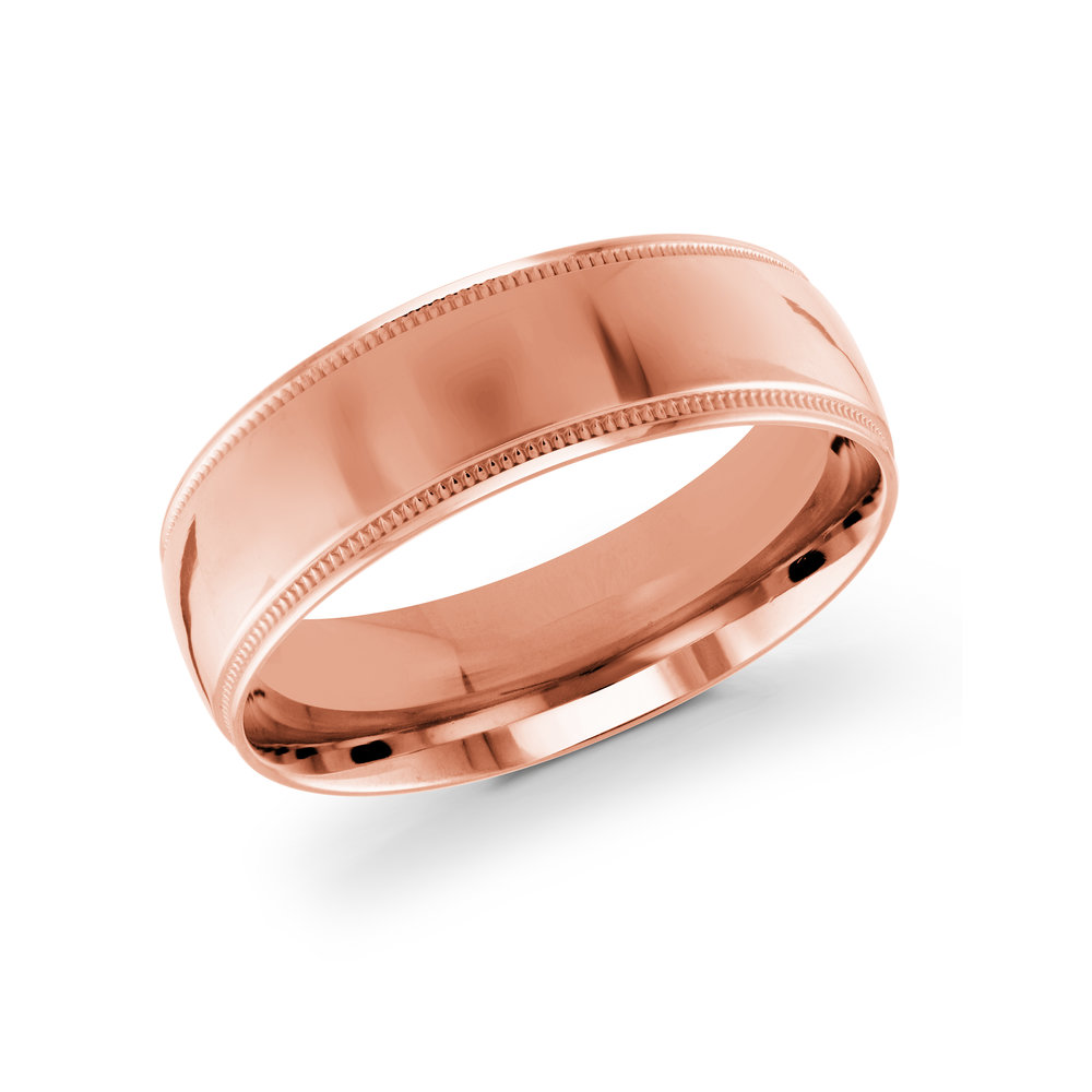 Pink Gold Men's Ring Size 7mm (J-209-07PG)
