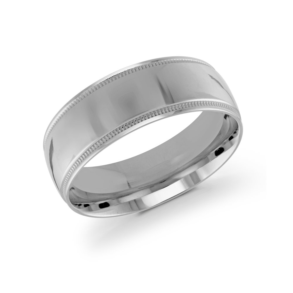 White Gold Men's Ring Size 8mm (J-209-08WG)