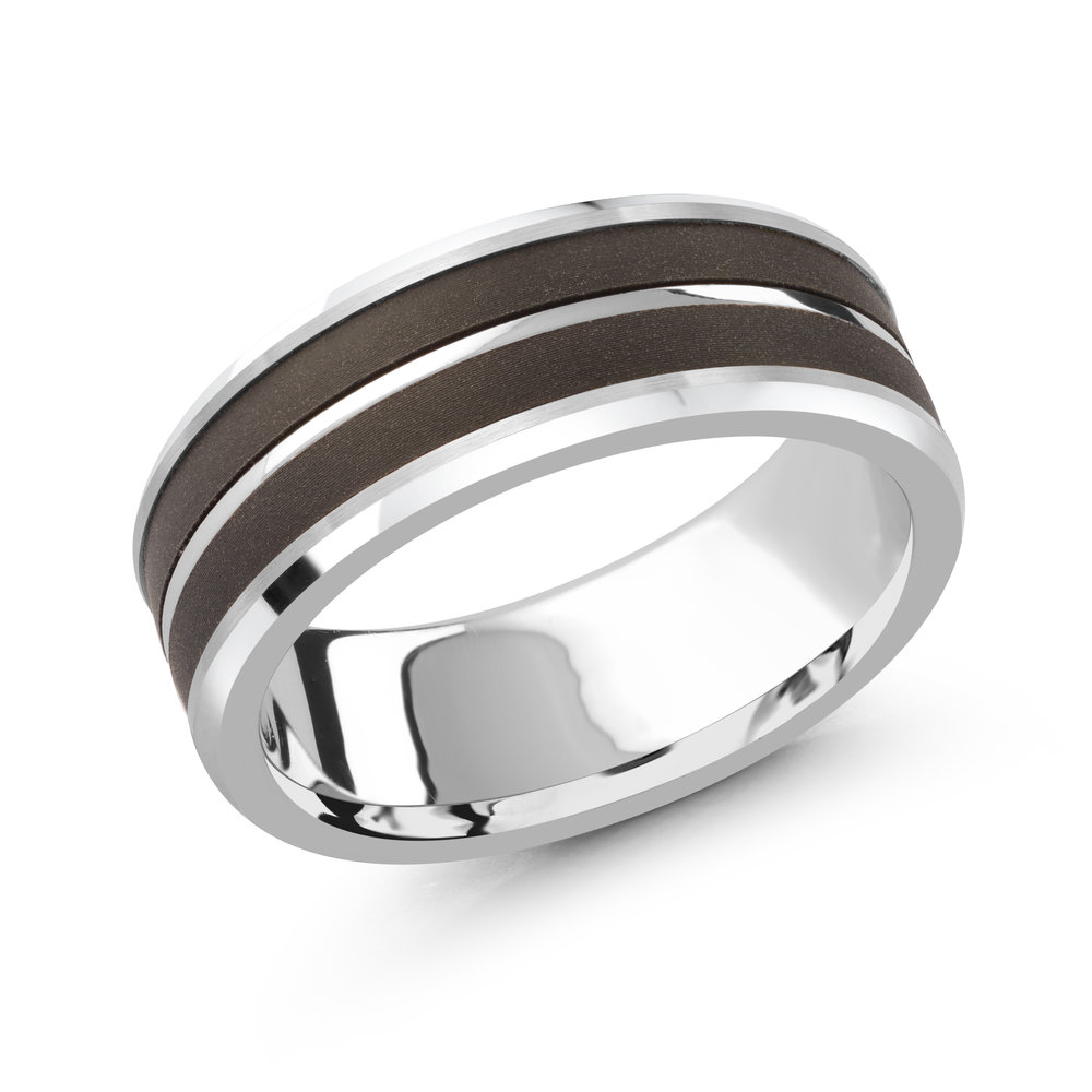 White Gold Men's Ring Size 7mm (MRDA-056)