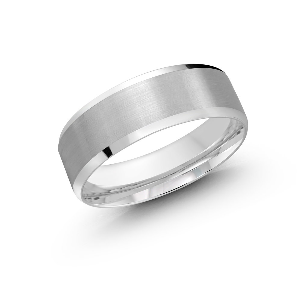 White Gold Men's Ring Size 7mm (LUX-1105-7W)