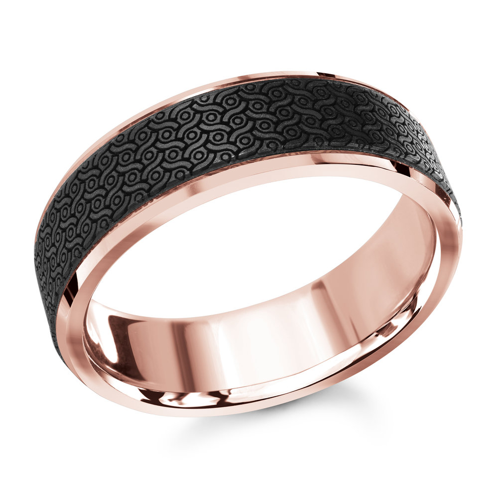 Pink Gold Men's Ring Size 7mm (MRDA-041-7P)