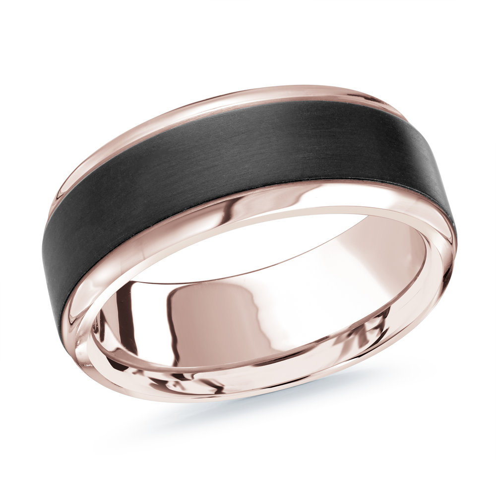 Pink Gold Men's Ring Size 8mm (MRDA-060-8P)