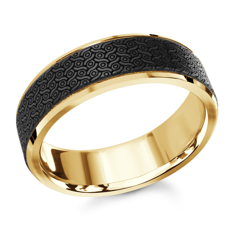 Yellow Gold Men's Ring Size 7mm (MRDA-041-7Y)