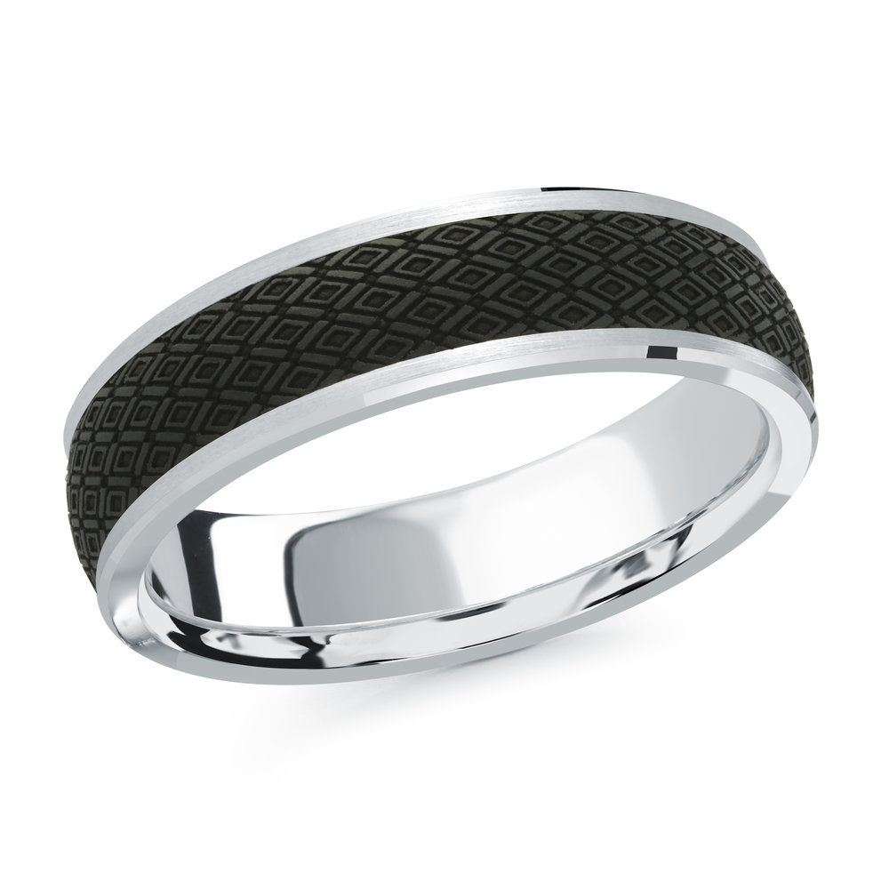 White Gold Men's Ring Size 6mm (MRDA-073-6W)