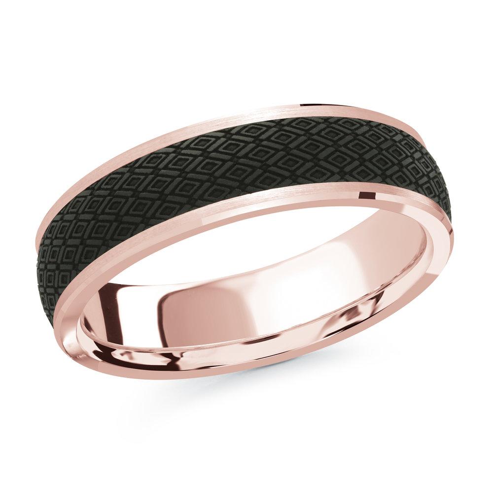 Pink Gold Men's Ring Size 6mm (MRDA-073-6P)