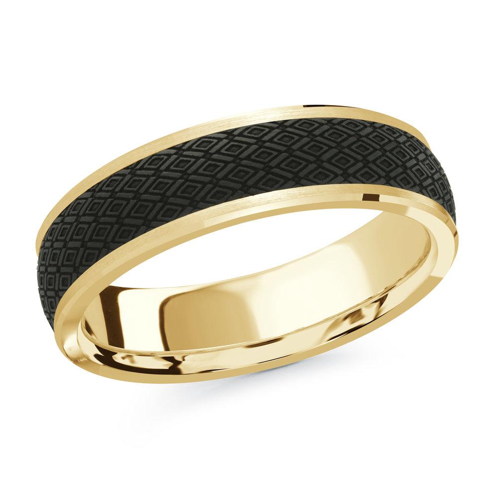 Yellow Gold Men's Ring Size 6mm (MRDA-073-6Y)