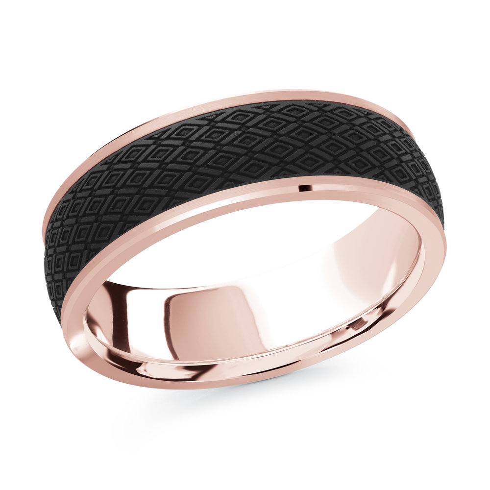 Pink Gold Men's Ring Size 7mm (MRDA-077-7P)