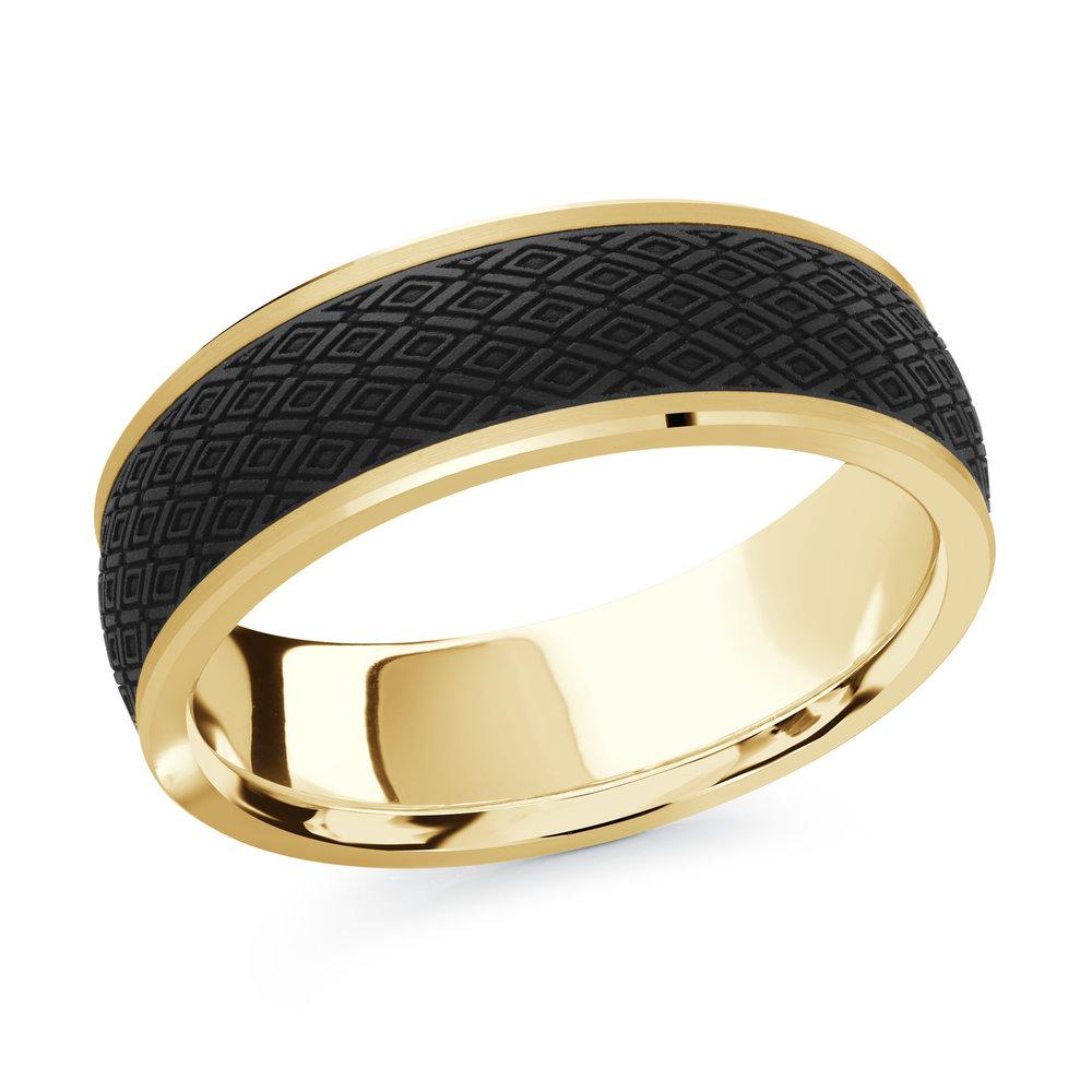 Yellow Gold Men's Ring Size 7mm (MRDA-077-7Y)