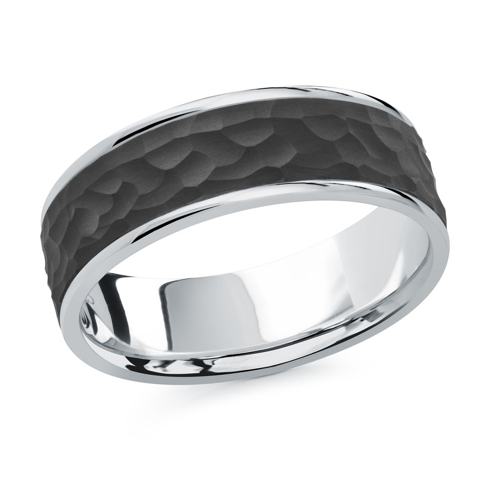 White Gold Men's Ring Size 7mm (MRDA-078-7W)