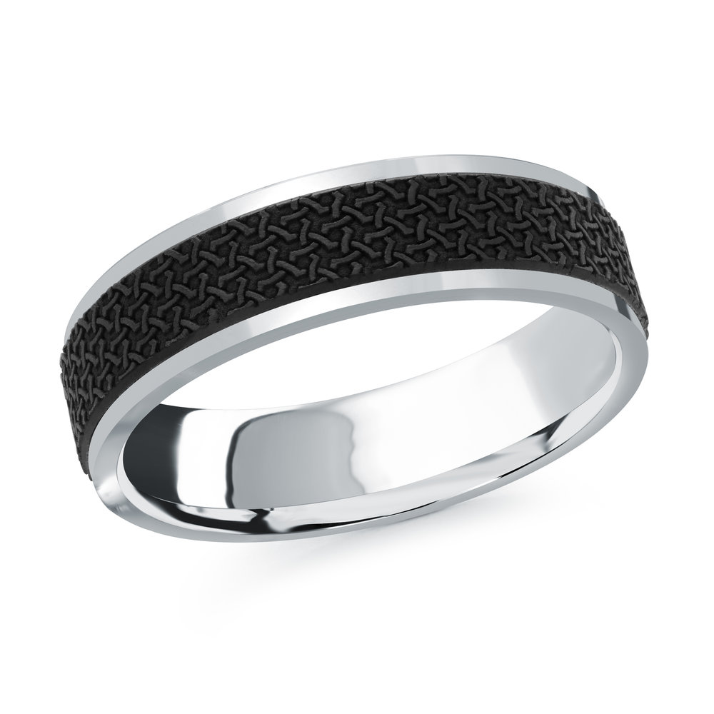 White Gold Men's Ring Size 6mm (MRDA-079-6W)