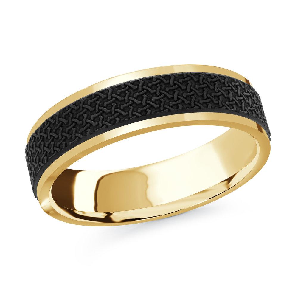 Yellow Gold Men's Ring Size 6mm (MRDA-079-6Y)
