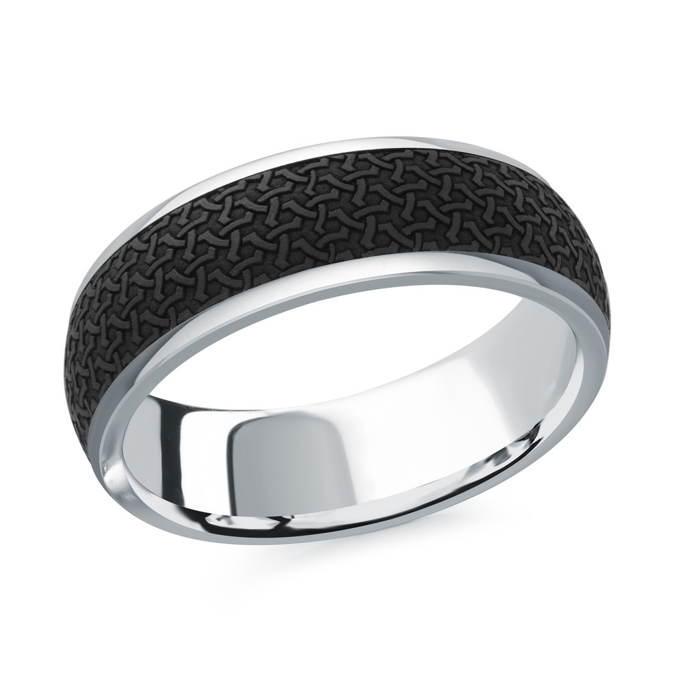 White Gold Men's Ring Size 7mm (MRDA-081-7W)