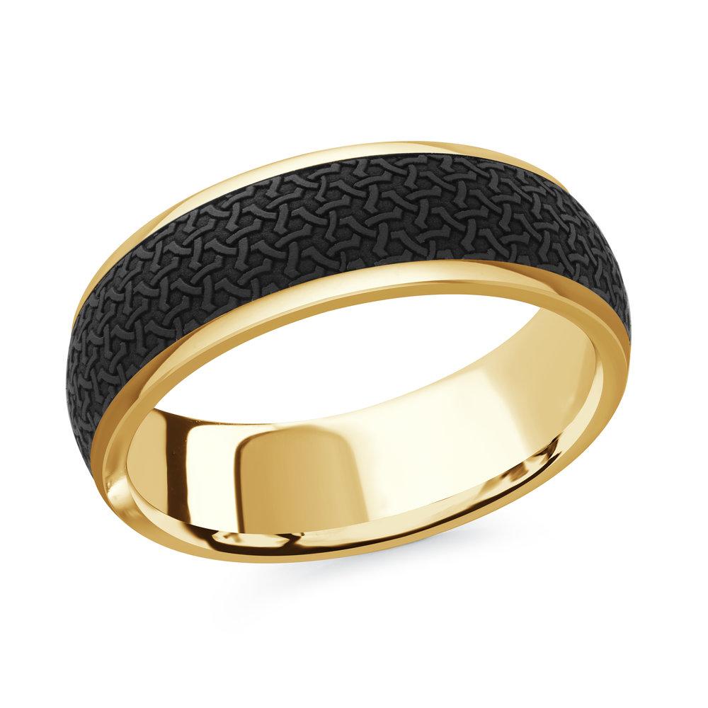 Yellow Gold Men's Ring Size 7mm (MRDA-081-7Y)