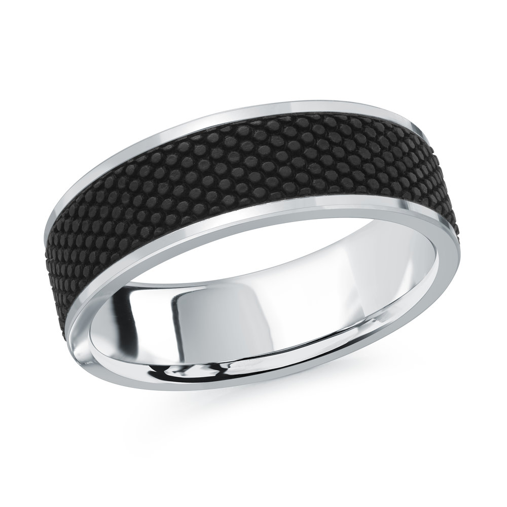 White Gold Men's Ring Size 7mm (MRDA-082-7W)