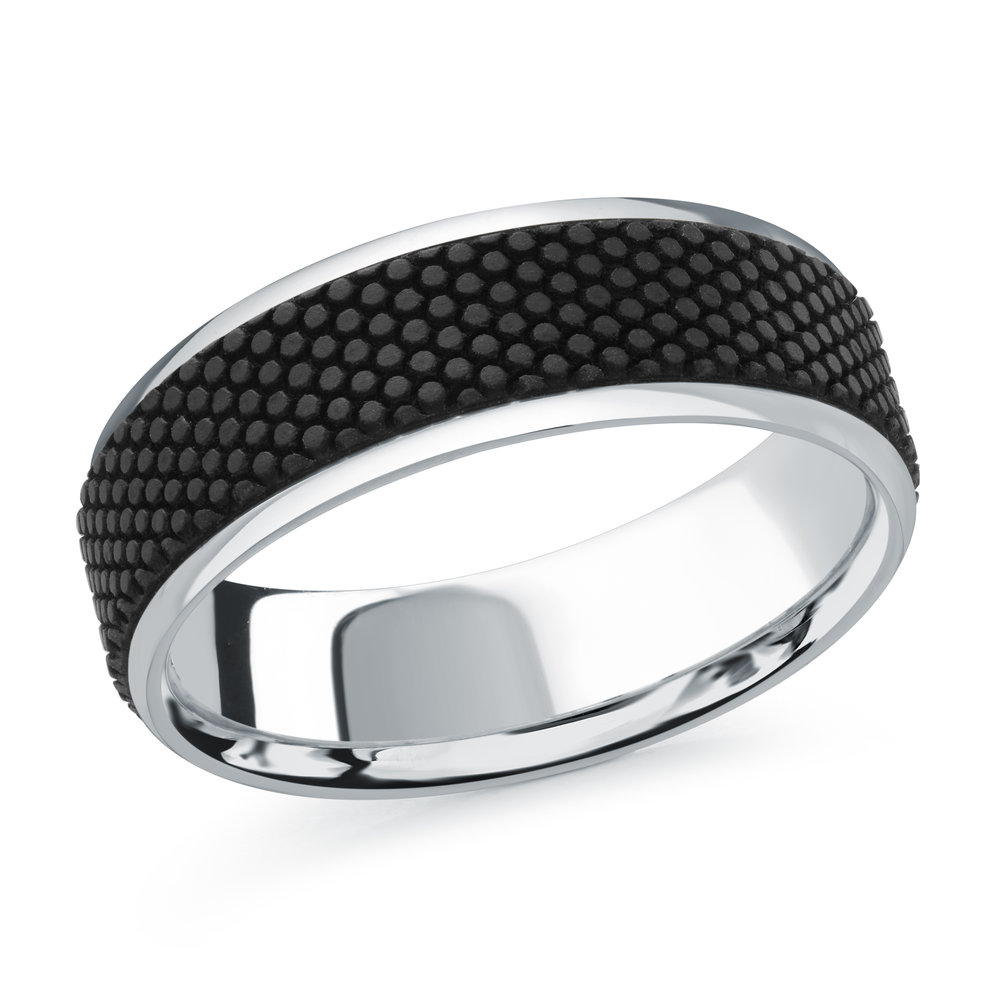 White Gold Men's Ring Size 7mm (MRDA-083-7W)