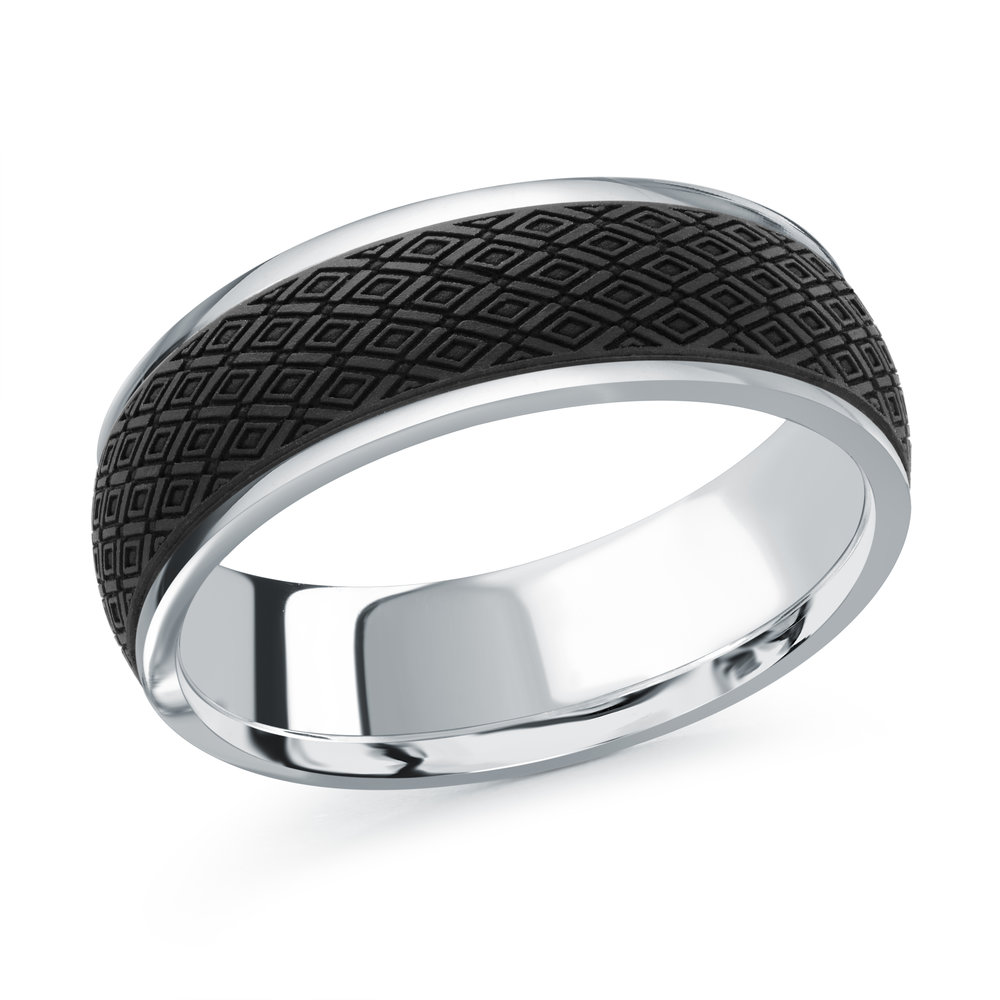 White Gold Men's Ring Size 7mm (MRDA-084-7W)
