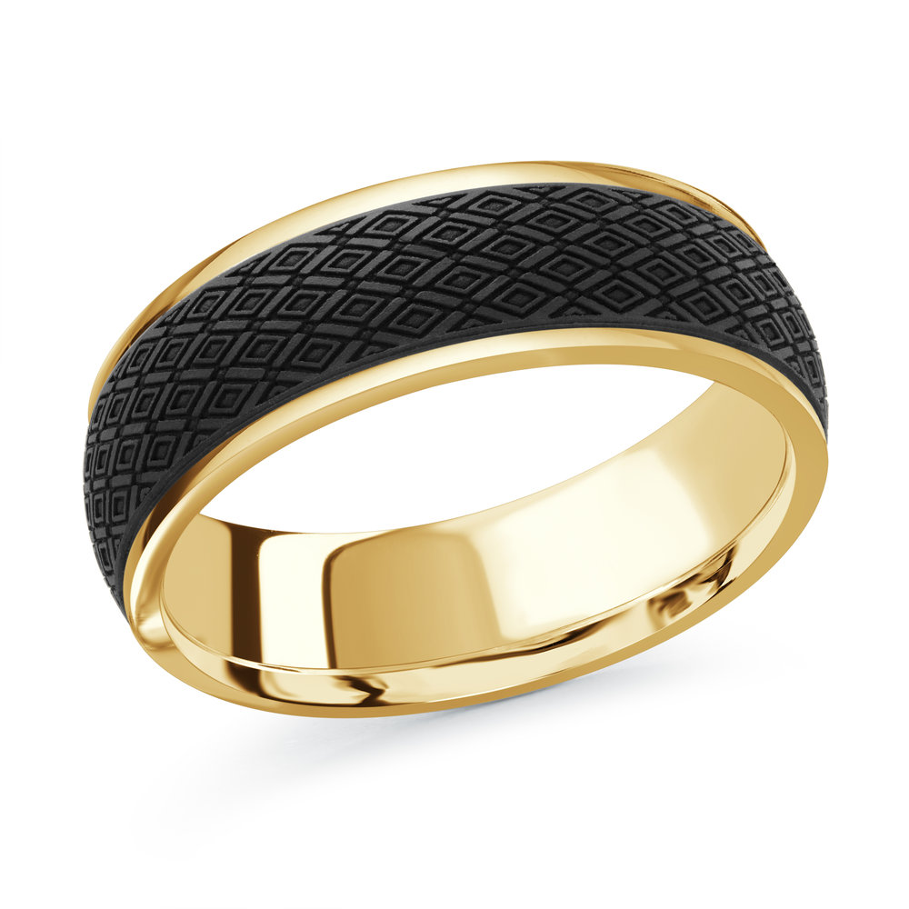 Yellow Gold Men's Ring Size 7mm (MRDA-084-7Y)