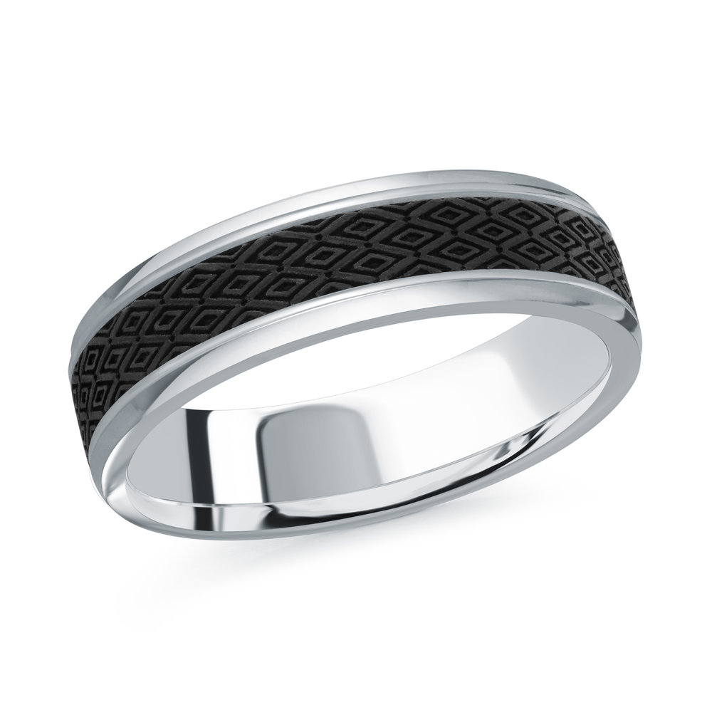 White Gold Men's Ring Size 6mm (MRDA-085-6W)