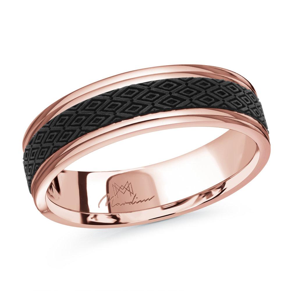 Pink Gold Men's Ring Size 6mm (MRDA-086-6P)