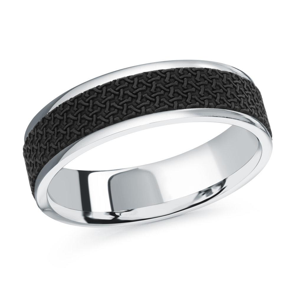 White Gold Men's Ring Size 6mm (MRDA-087-6W)