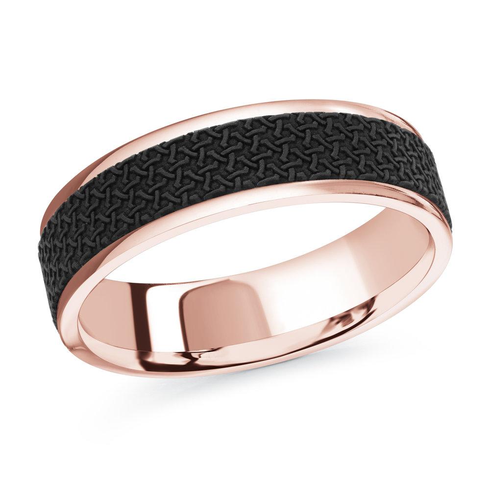 Pink Gold Men's Ring Size 6mm (MRDA-087-6P)