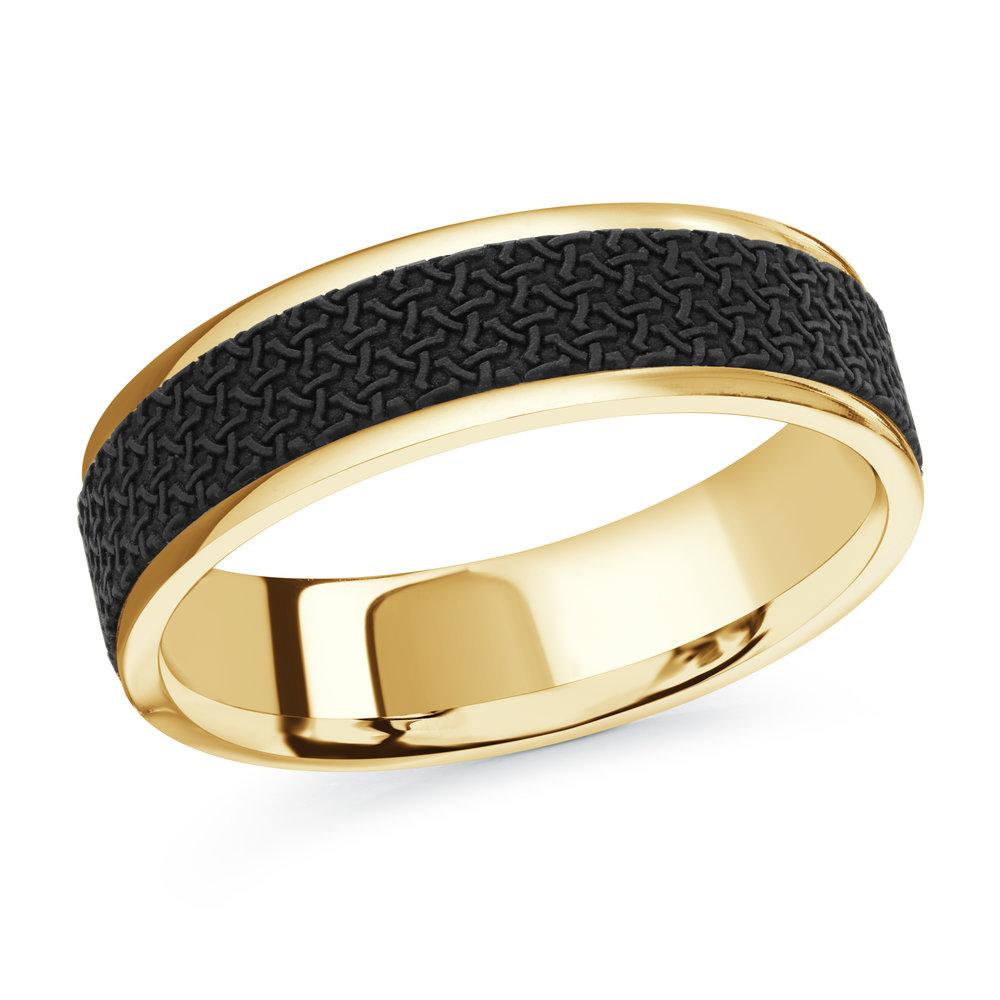 Yellow Gold Men's Ring Size 6mm (MRDA-087-6Y)