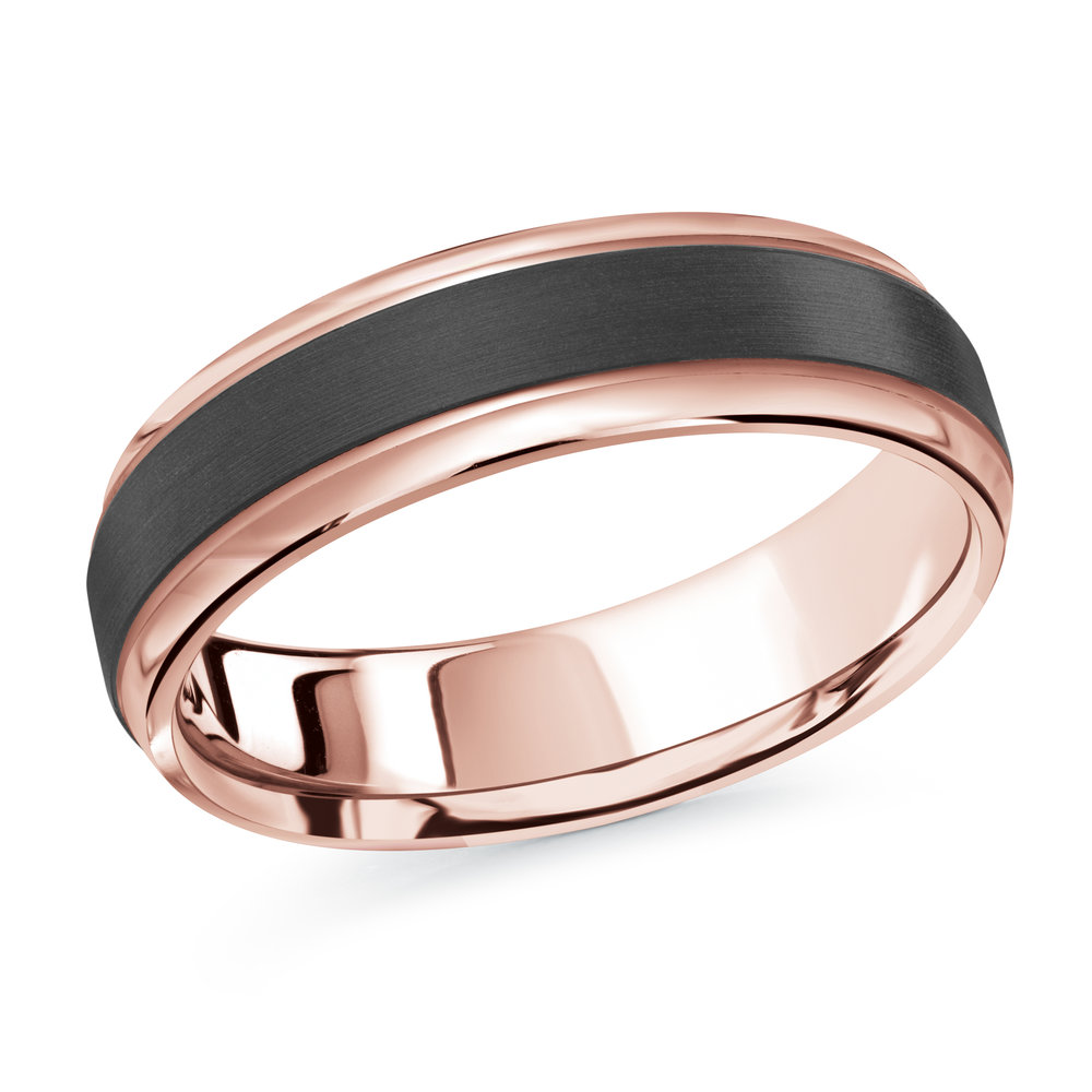 Pink Gold Men's Ring Size 6mm (MRDA-088-6P)