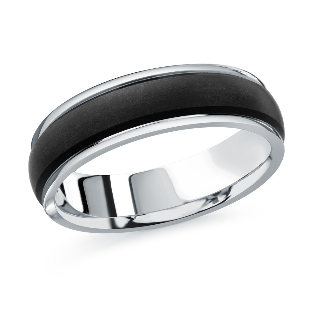 White Gold Men's Ring Size 6mm (MRDA-091-6W)
